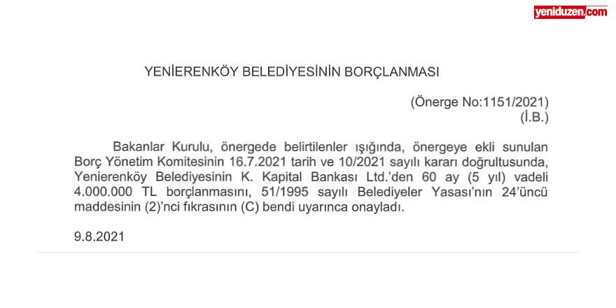 Yenierenköy Belediyesi'ne yeni borç yükü:  60 ay vade ile 4 milyon TL borç