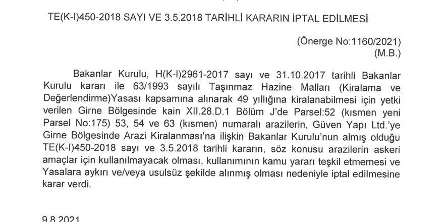 """İptal kararı Resmi Gazete'de:  """"Arazi kiralama kararları yasalara aykırı ve  usulsüz şekilde alındı"""""""