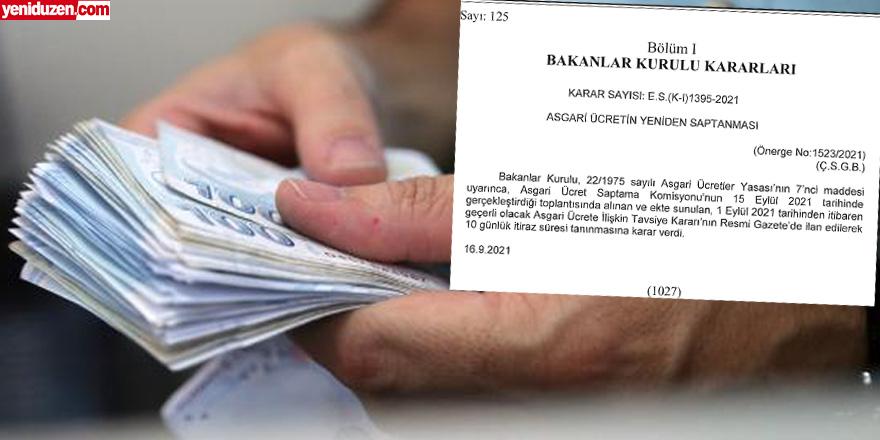 Yeni asgari ücret Resmi Gazete'de yayımlandı