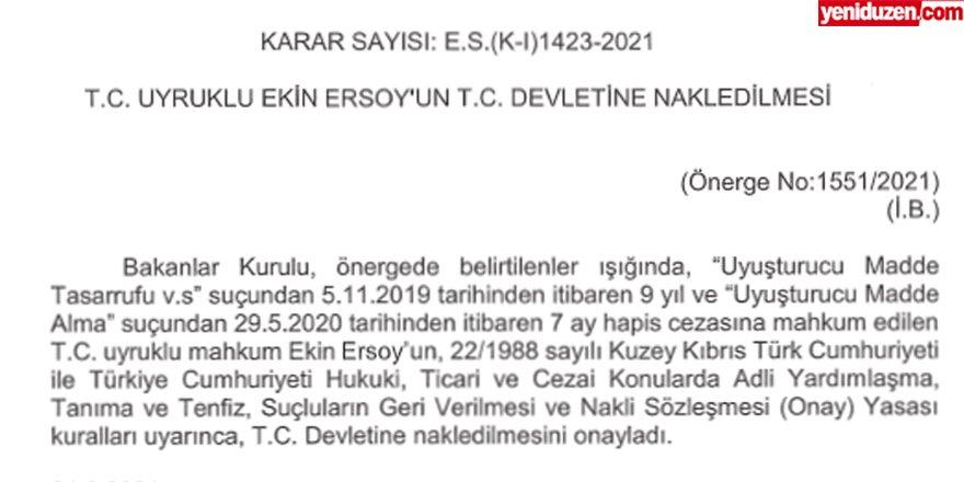 Cezaevinde bulunan Ersoy, Türkiye'ye iade ediliyor