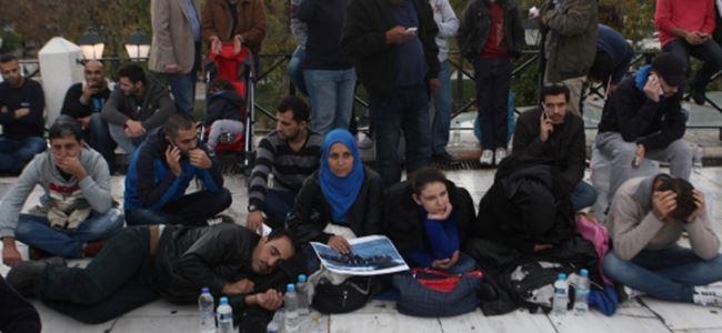Atinada Suriyeli sığınmacılar eylem yaptı