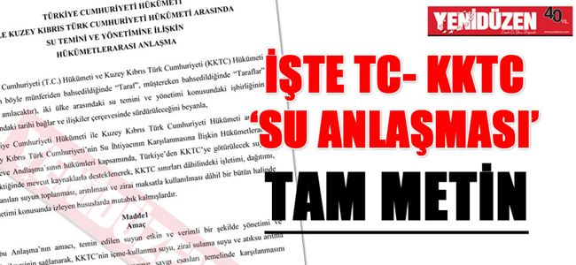 'SU ANLAŞMASI' TAM METİN