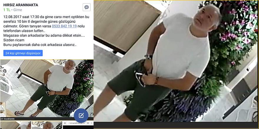 Gözlük hırsızı kameralara takıldı