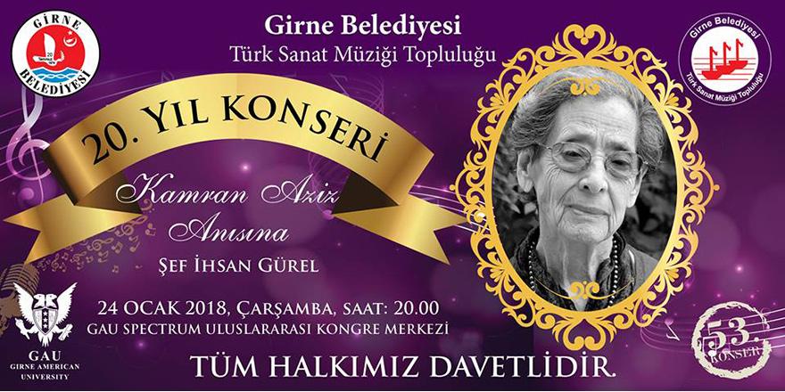 Girne Belediyesi Türk Sanat Müziği Topluluğu'ndan;  20'nci yıl konseri