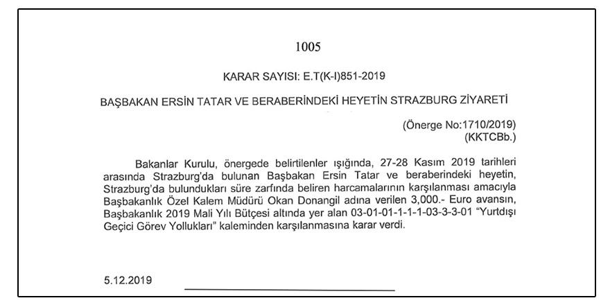 Tatar'a 2 günlük gezi için 3 bin Euro 'yolluk'