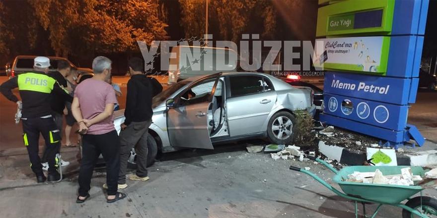 Lefkoşa'da kaza: Benzinciye girdi