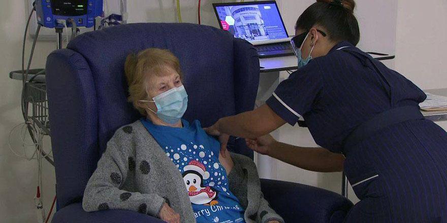 İngiltere'de ilk aşı 90 yaşındaki kadına