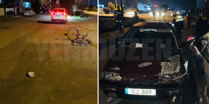 Bir araç bisikletliye çarptı, 1 yaralı