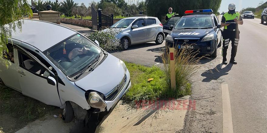 Sürücü yaralandı